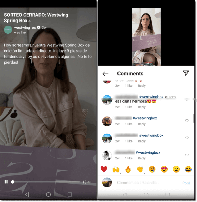 Example of a giveaway organized on Instagram Live
