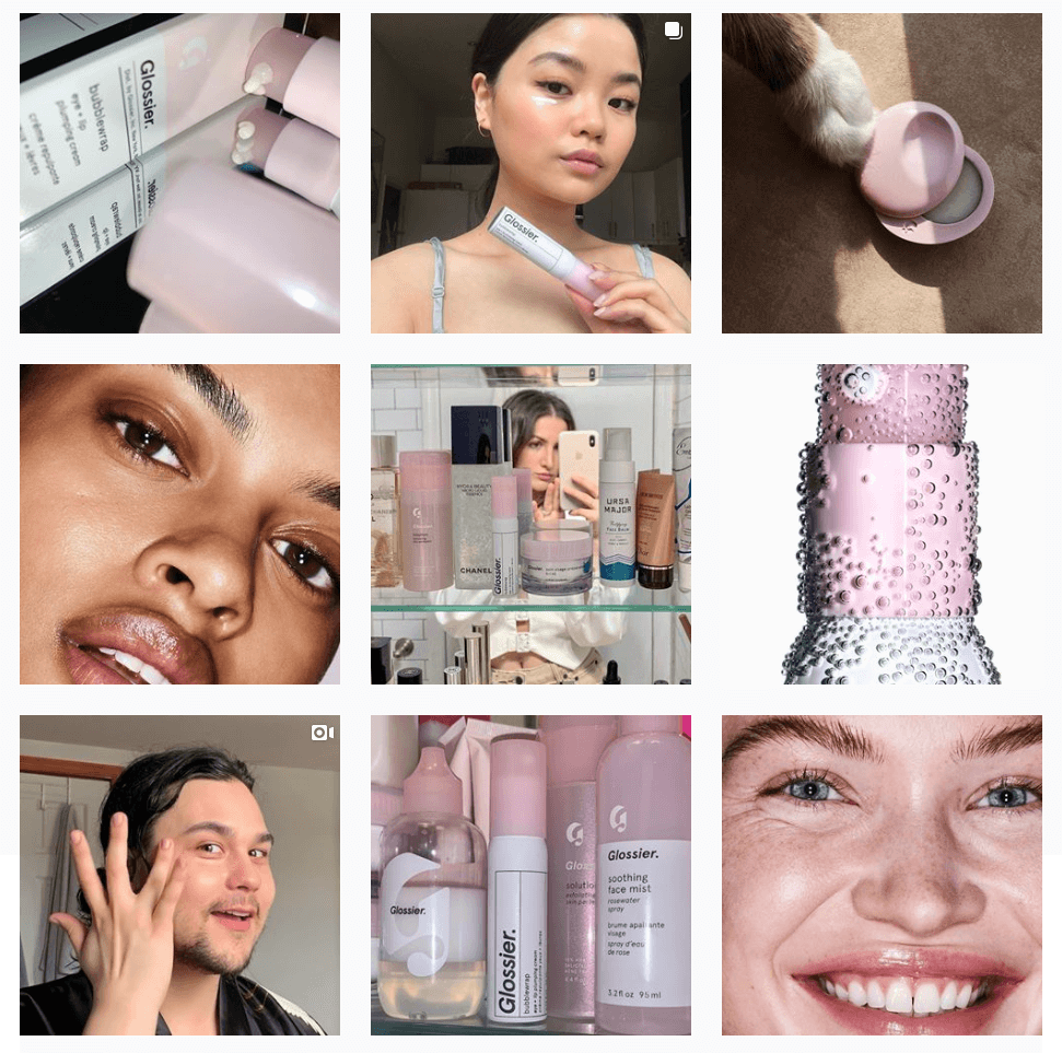 Screenshot of the Glossier Instagram grid. Their posts range from product shots to user-generated content, videos, and even cat photos.