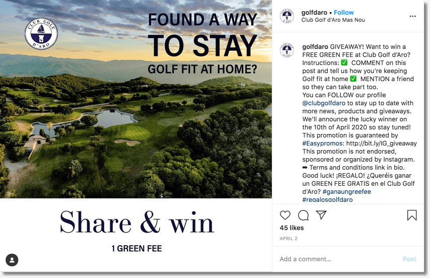 Golf giveaway example of customer retention with social media giveaways