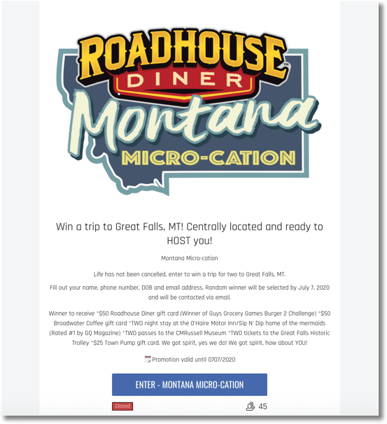 roadhouse diner montana best prizes inbound marketing contests