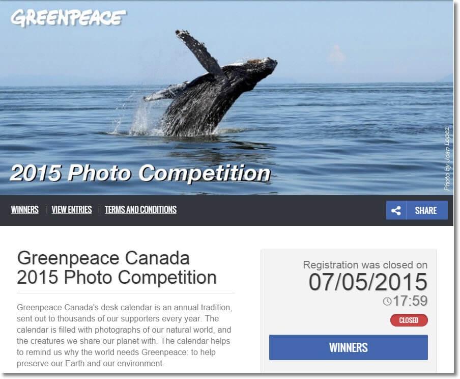 Photo Contest Greenpeace Canada