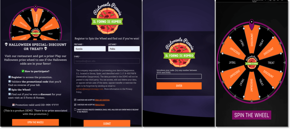 Example of a promotion for local commerce to reward paying customers. Screenshot of a spin the wheel promotion for halloween.