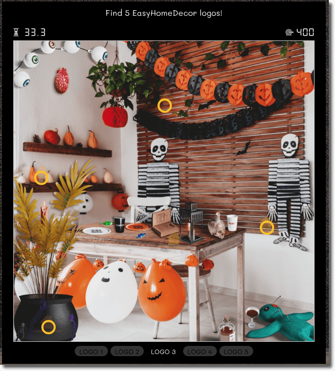 hidden objects game example of a hallooween promotion organized by home decor shop