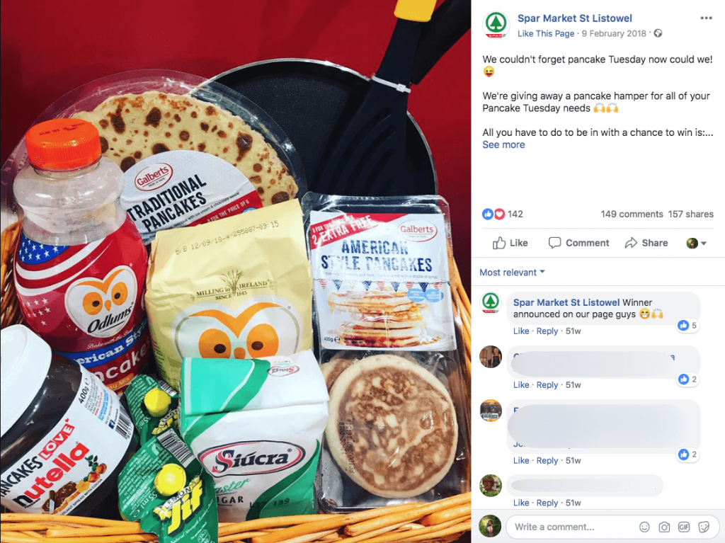 A Pancake Day giveaway post on Facebook. The image shows a hamper full of hamper ingredients, and the image caption describes how to enter.