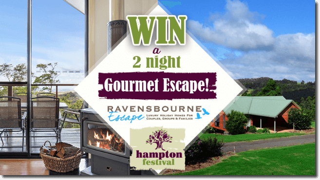 Image shows a balcony overlooking the sea with a cosy wood fire, and a view of a hotel set in grassy fields. The text reads: Win a 2 night gourmet escape! Ravensbourne Escape, Hampton Festival.