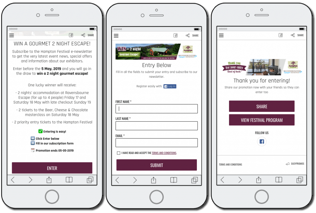 The image shows 3 mobile screenshots. 1: explains that users must subscribe to the Hampton Festival newsletter to join the prize draw. 2: an entry form asks for users' full name and email address. 3: the festival thanks users for entering, and invites them to share on social media or view the festival program with direct buttons.