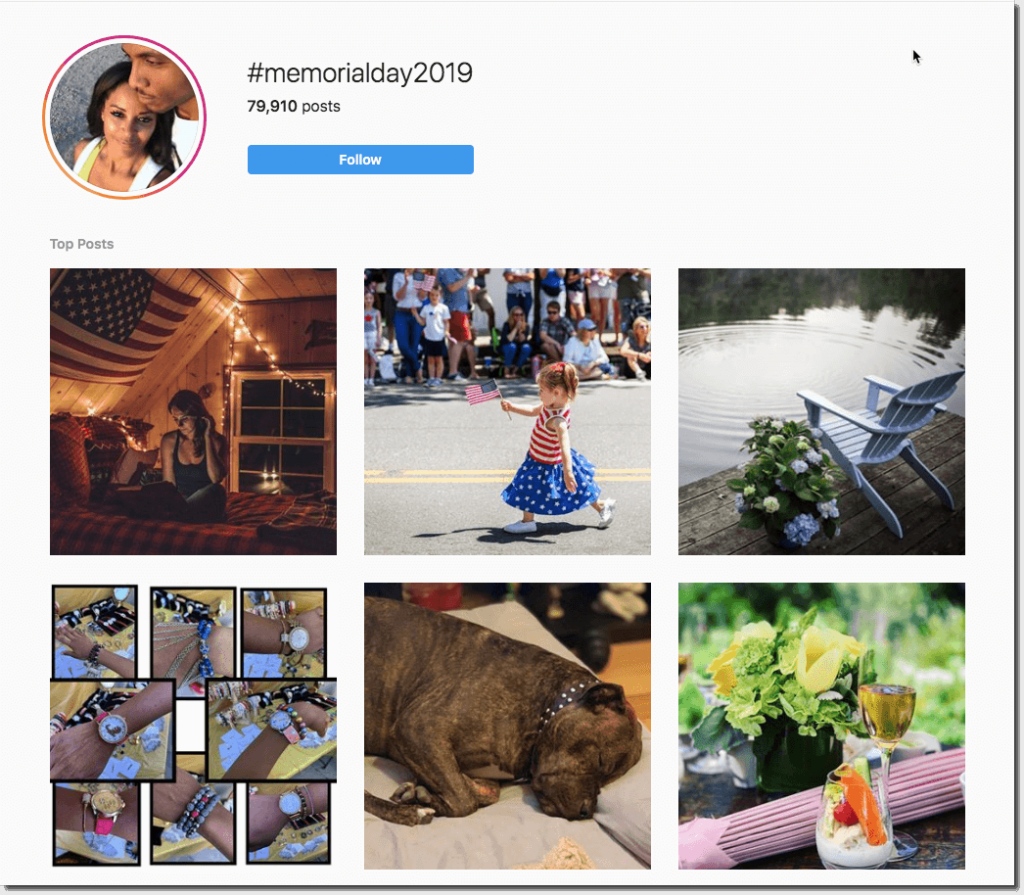 "Screenshot of search results for the hashtag ""Memorial Day 2019"" on Instagram. Posts include flags, Memorial Day parades, a scene of a chair beside a lake, and photos of a summer lunch outdoors."