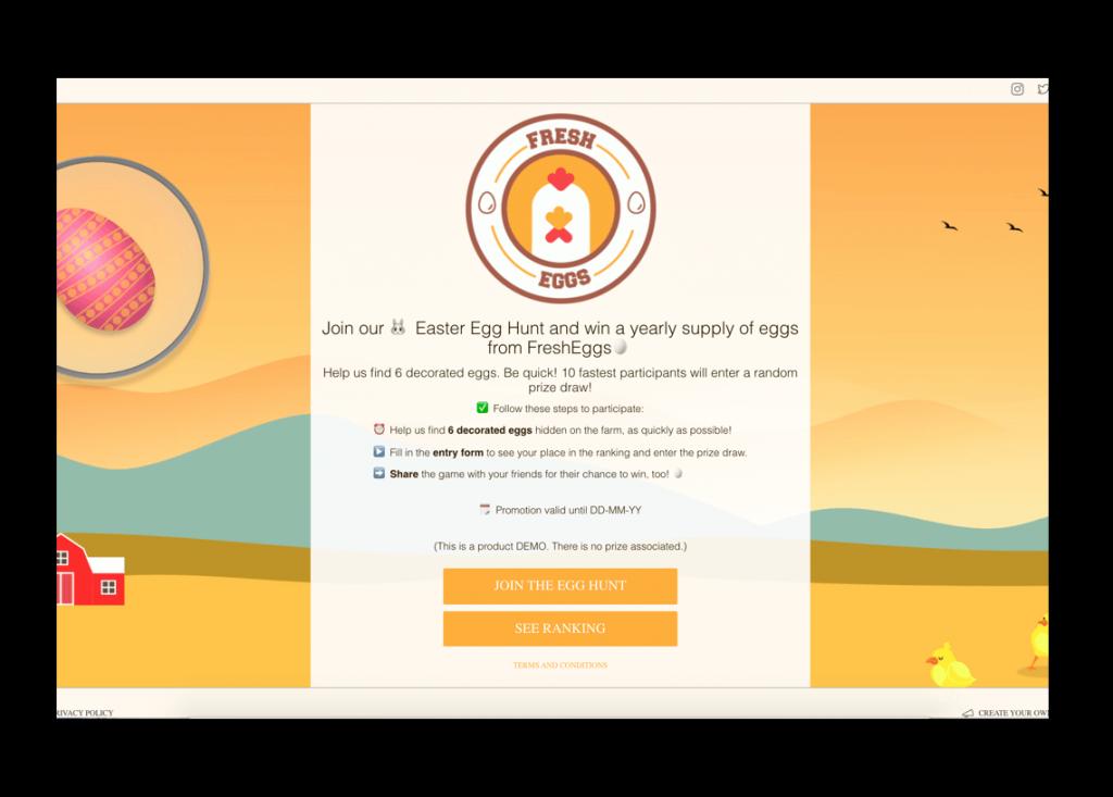 Ideas for Easter promotions, Easter egg hunt game online