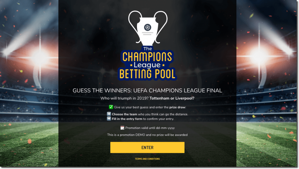 Front page of the Champions League sweepstake generator. The background shows a football stadium, filled with crowds and lights. The overlay text explains the rules of the contest and how to take part.