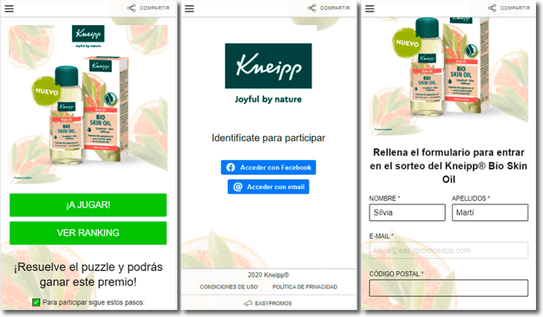 Kneipp user registration and identification example