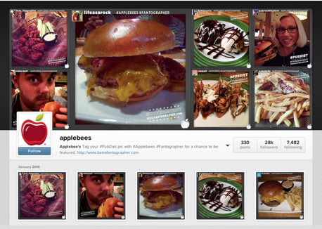 A collection of user-generated content: photos taken at dining chain Applebee's.