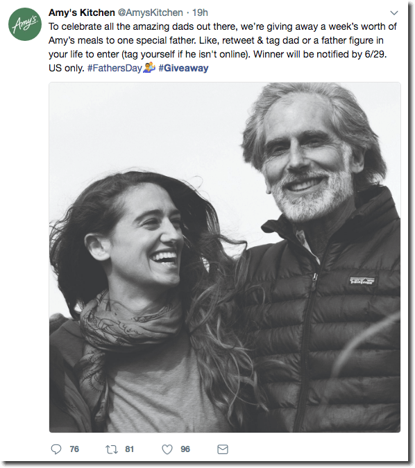 Father's Day promotion ideas on Twitter. A black and white image shows a father and daughter laughing together. The text announces a giveaway of a week's worth of food to a father. Children sign their dads up by tagging them in the photo.