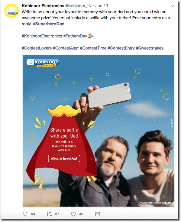 Father's Day promotion ideas on Twitter. The image shows a father and son taking a selfie at the beach, with an inset cartoon of a superhero cape. The brand invites users to share their favorite memory with dad in order to enter a giveaway.