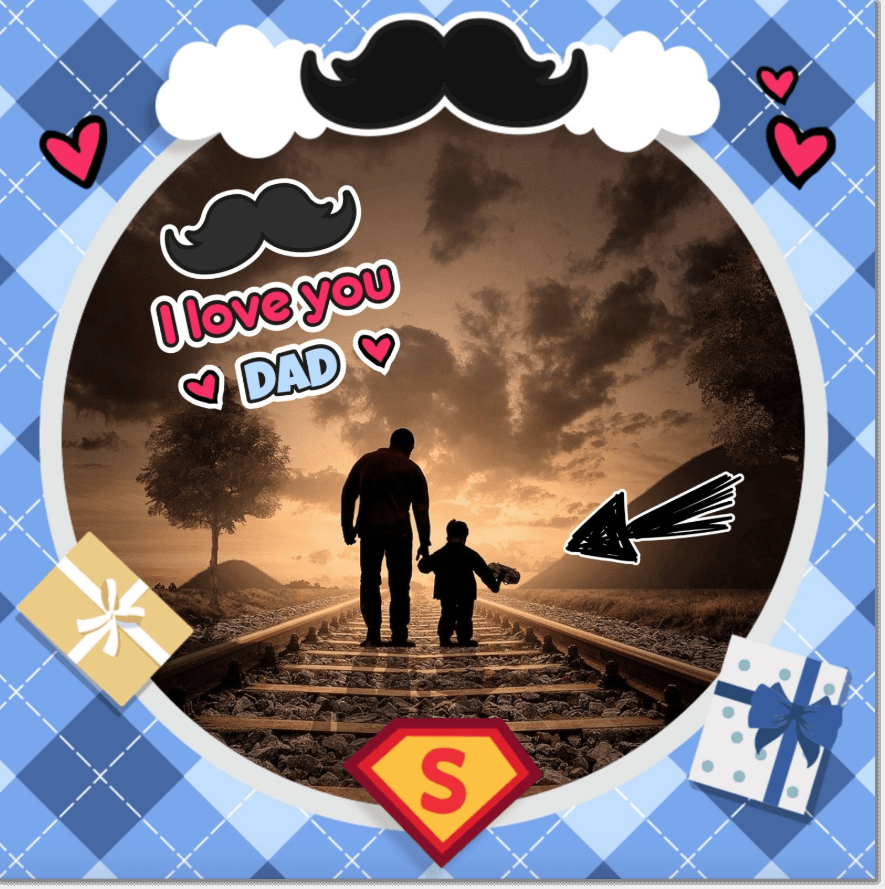 photo customized with stickers and frames