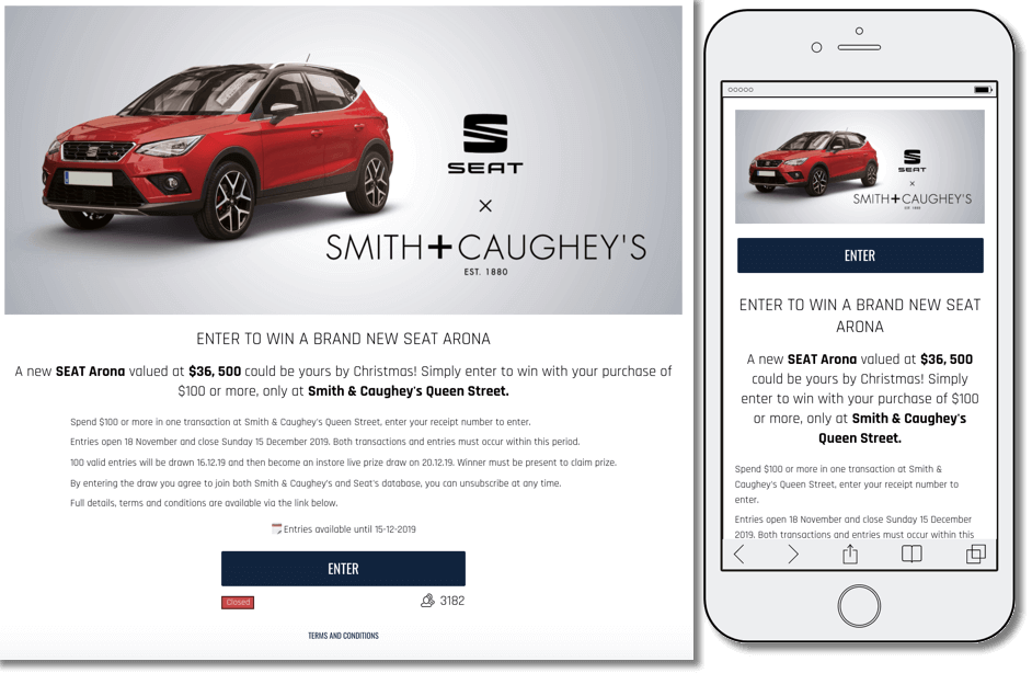reward customers for choosing your brand. example from seat and smith & caughey's