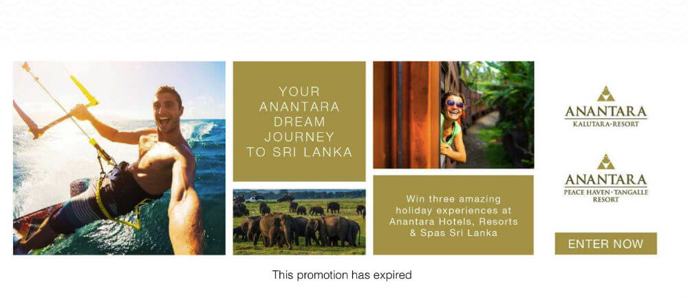 Screenshots from an Easypromos promotion, advertizing a holiday experience in Sri Lanka.