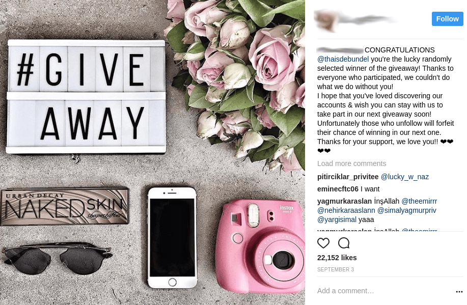 Instagram contests announce winner