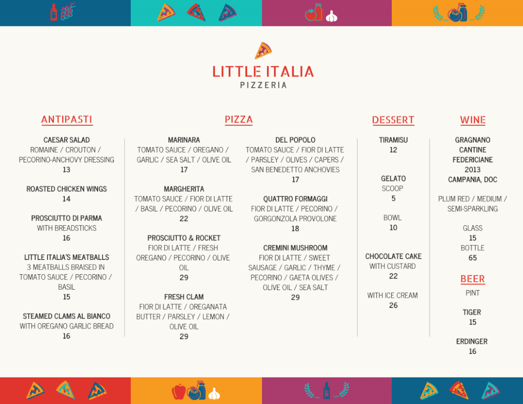 Example of a Little Italia Pizzeria menu, available digitally and in print.