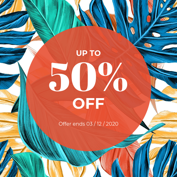"Example of a coupon for digital and print media. The background is an assortment of fern leaves in blue, green, yellow, and red. Over the background is a large red circle, with ""Up to 50% off, offer ends third December 2020"" written in white letters."