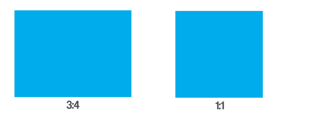 The illustration demonstrates 3:4 and 1:1 aspect ratios with large blue blocks.