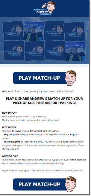 Andrew's airport parking. Screenshot of the newsletter promoting the branded Memory game