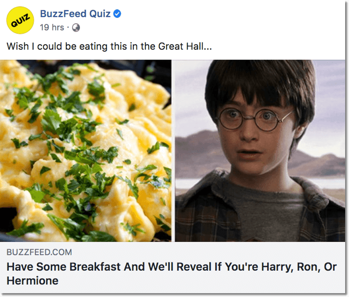 Screenshot of a Buzzfeed quiz. Proven ecommerce practices