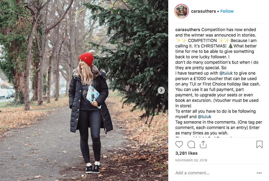 Giveaways with collaborators: image of influencer Instagram post sponsored by travel brand