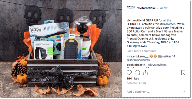 Halloween giveaway ideas: Example of a Halloween giveaway on social media: this INstagram post shows a prize pack of sports equipment decorated with Halloween colors and symbols.