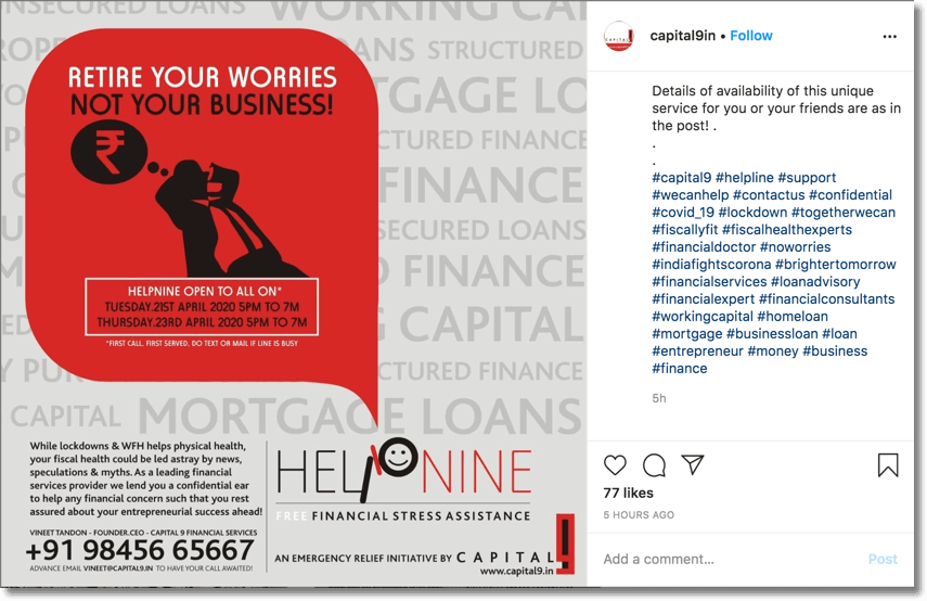 Example of online customer retention. Screenshot of a company sharing their contact details on instagram.