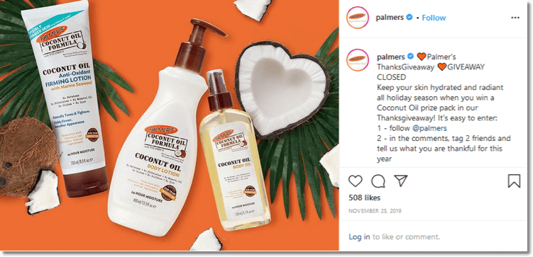Screenshot of the Palmer instagram giveaway. Proven ecommerce practices