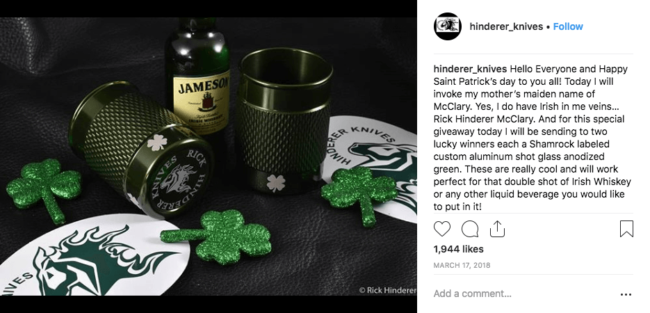 Instagram post announcing a St Patrick's Day giveaway. The image shows 2 green shot glasses, a bottle of whiskey, and 3 green shamrocks.