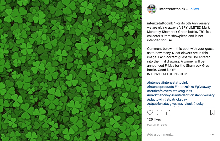 Instagram post announcing an St Patrick's Day giveaway. The image shows lots of small green shamrocks.