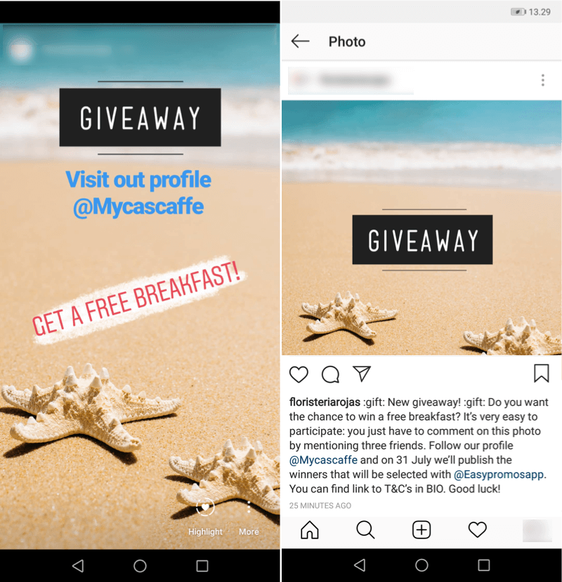 "Screenshots of a Story and post about a summer giveaway on Instagram. Both posts show the same simple image of a sandy beach with blue water on the horizon. There are two cream-colored starfish lying on the beach. A large black label reads ""GIVEAWAY""."