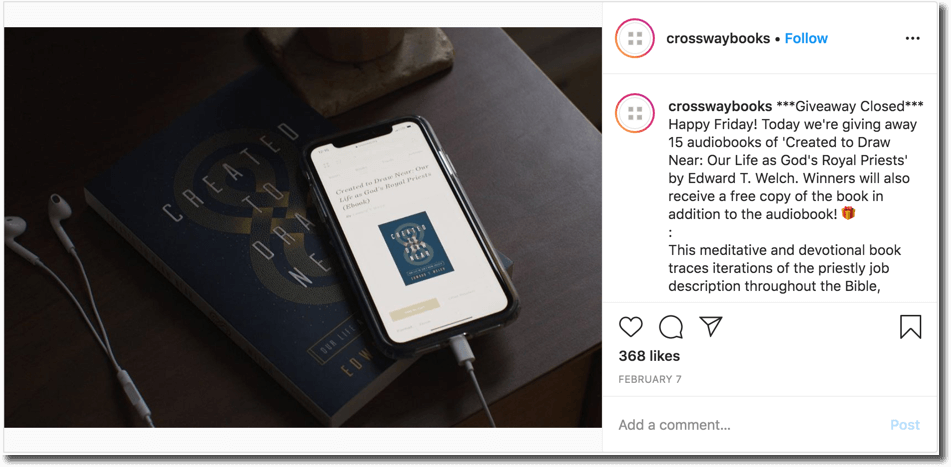 Book giveaway on Instagram organized by Crossway Books