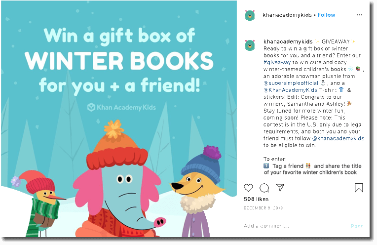 Book Giveaway on Instagram organized by Khan Academy Kids