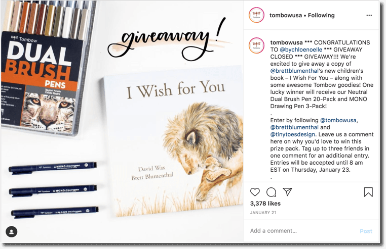 Book giveaway on Instagram by Tombow USA
