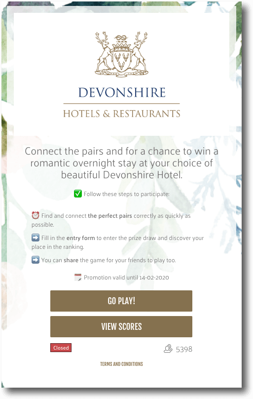 Branded Match It game by Devonshire Hotels & Restaurants for their Valentine's Day campaign