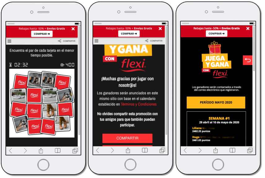 Screenshot's of the lead generation campaign by Flexi