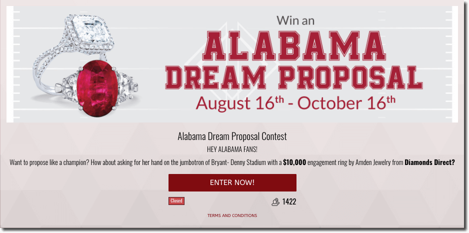 "Banner announcing a jewelry promotion. The image shows two rings with white and red gemstones. The text reads: ""Win an Alabama dream proposal, August 16th-October 16th."""