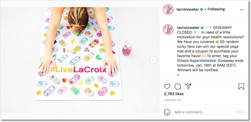 Screenshot of La Croix Water's giveaway showing how to organize a giveaway on Instagram