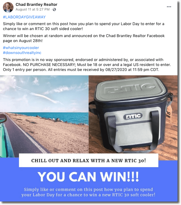 Labor Day contest: Labor day giveaway on social media.