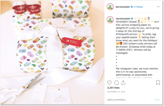 Christmas giveaway ideas: instagram giveaways