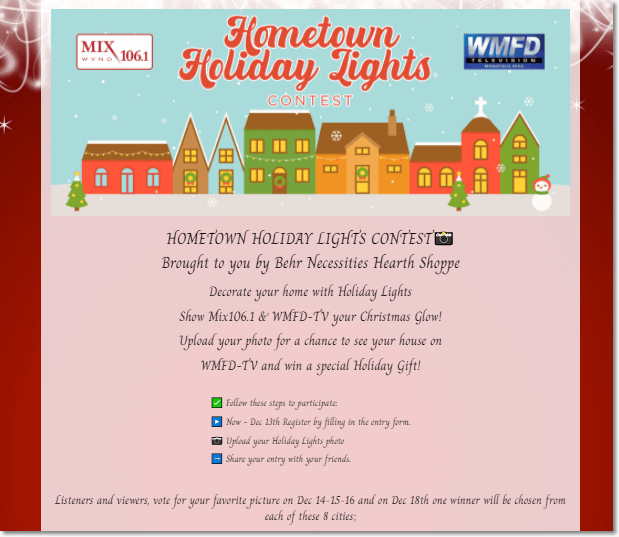Screenshot of the Hometown Holiday Lights contest from WMFD-TV. Users upload a photo for the chance to be featured on TV and win a holiday gift from a homeware store.