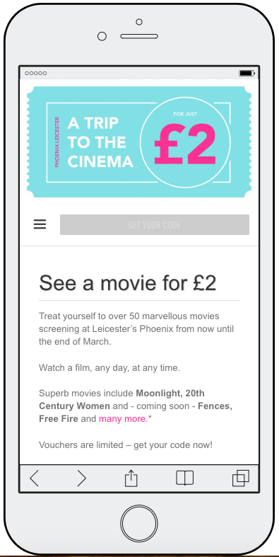 limited event coupons promote a film online