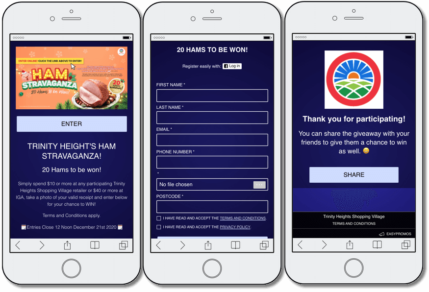 Screenshot of mobile preview of a giveaway organized by Trinity Heights for their paying customers. Clients had to spend a minimum amount at the participating stores for a chance to win a ham. Example of a promotion for local commerce to reward paying customers.