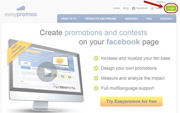 Easypromos Dashboard login
