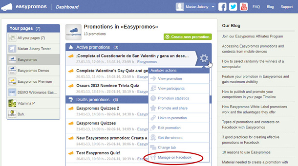 Manage promotion on facebook