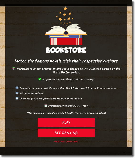 Example of a World Book Day promotion that can be created with Easypromos apps. Match it game