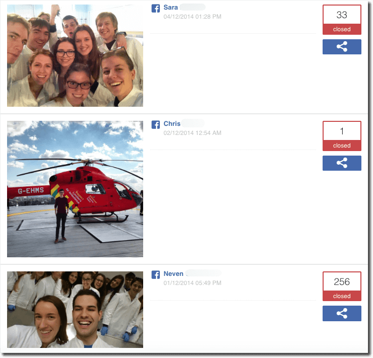 Gallery of entries in the medical students' photo contest for World Health Day. The first image shows a crowd of young people in white coats. It has 33 votes. The second image shows a young man standing in front of a red helicopter ambulance. It has 1 vote. The third image shows a group of medical students in white coats and blue latex gloves. It has 256 votes.