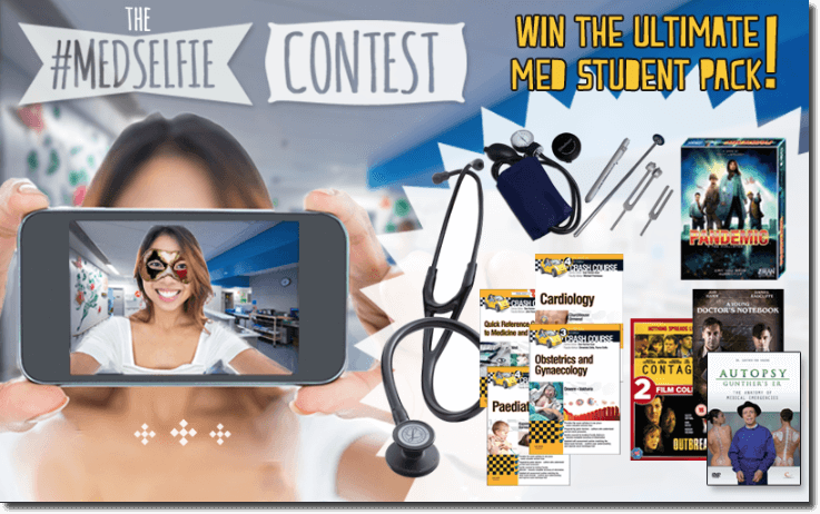 "Banner announcing a World Health Day selfie contest for medical students. The image shows some of the prizes on offer, such as a stethoscope, DVD boxsets, and medical journals. The overlay text reads: ""The MedSelfie contest. Win the ultimate med student pack!"""